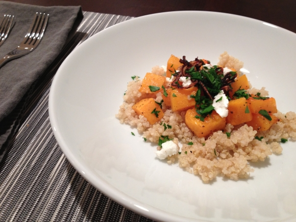 Quinoa with Roasted Butternut Squash & Crispy Shallots